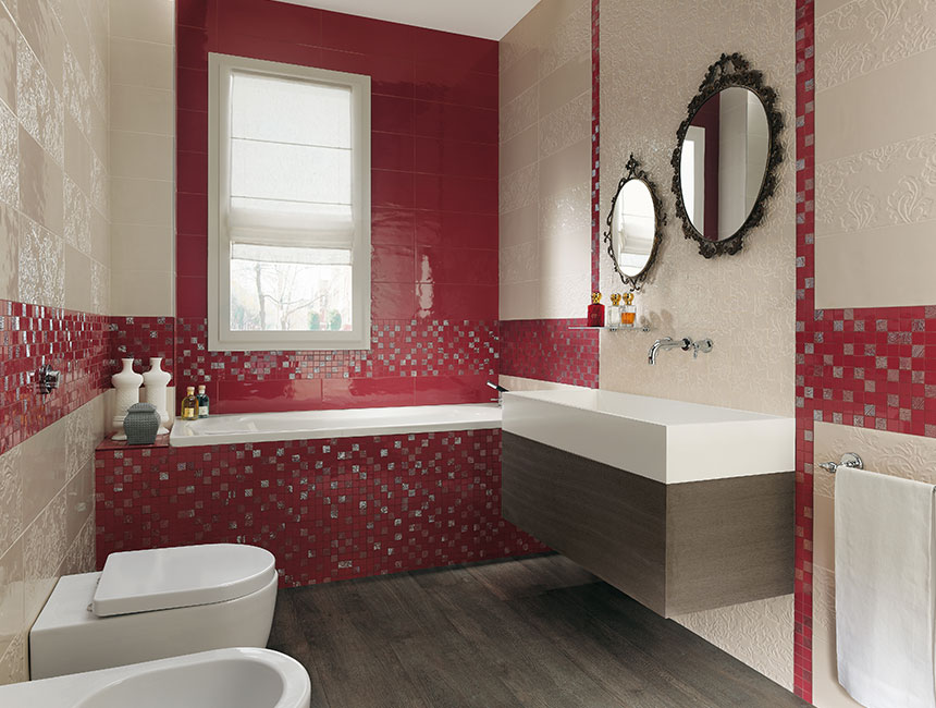 Red bathrooms with mosaic ideas #redbathroom #bathroom #bathroomdesign #bathroomideas #bathroomreno #bathroomremodel #decorhomeideas