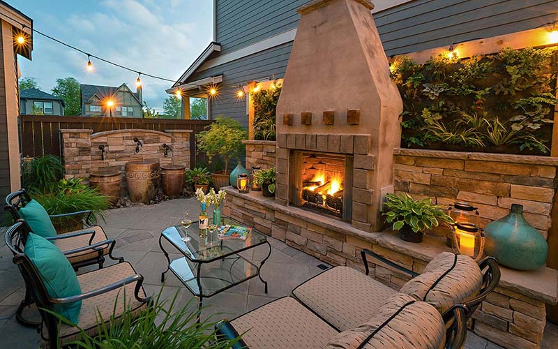 Small place patio with fireplace