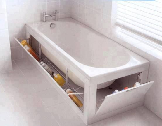 Under bathtub bathroom storage ideas #diy #storage #organization #organize #decoratingideas #homedecor #decorhomeideas
