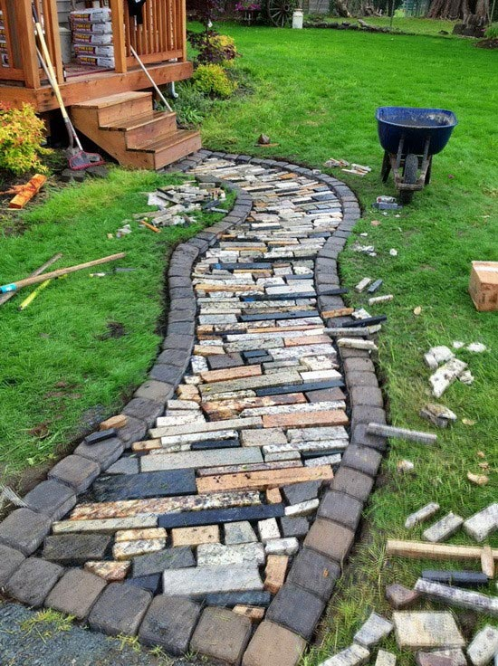 Walkway made from recycled granite countertops #gardens #gardening #diy #gardenideas #gardeningtips #decorhomeideas
