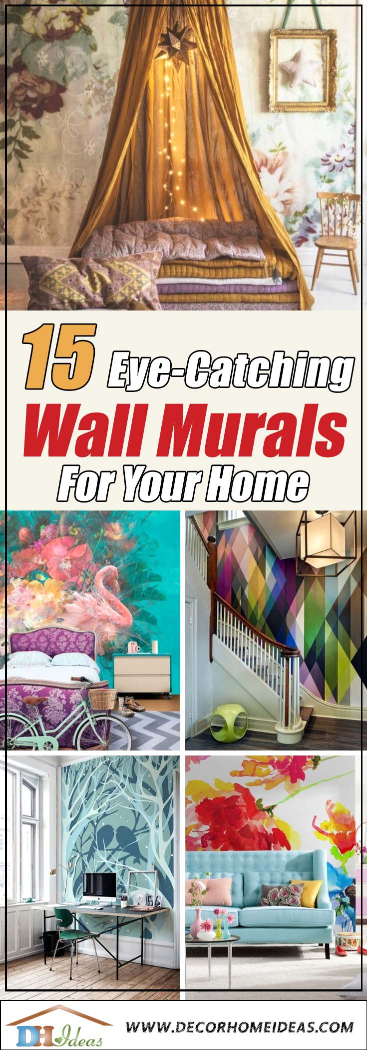 15 Eye Catching Modern Murals for Interior Home Decor | Great wall decoration with wall stickers and murals for interior design #mural #sticker #painting #homedecor #walldecor #decoratingideas #interiordesign #decorhomeideas
