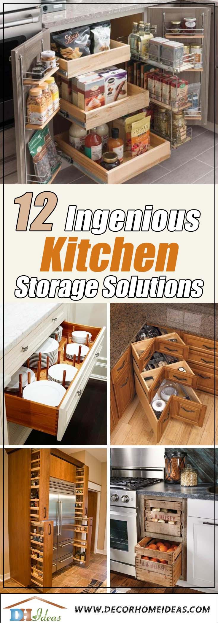 12 Ingenious Kitchen Ideas You Don't Want To Miss | Storage and organization ideas for the kitchen. #kitchen #storage #organization #cupboards #cabinets #shelves #decoratingideas #decorhomeideas