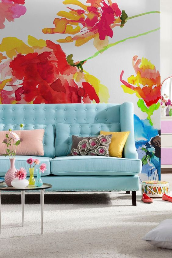 Bright summer wall mural decor idea #mural #sticker #painting #homedecor #walldecor #decoratingideas #interiordesign #decorhomeideas