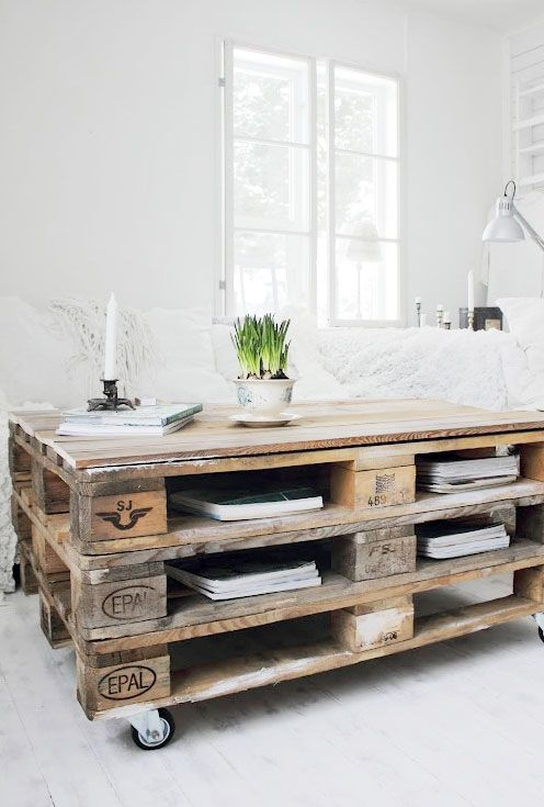Diy pallet coffee table idea #diy #pallets #furniture #makeover #repurpose #woodenpallet #homedecor #decoratingideas #decorhomeideas