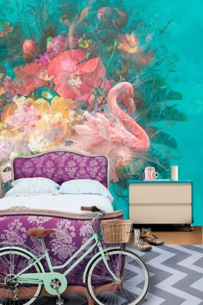 Flamingos wall mural decor idea #mural #sticker #painting #homedecor #walldecor #decoratingideas #interiordesign #decorhomeideas