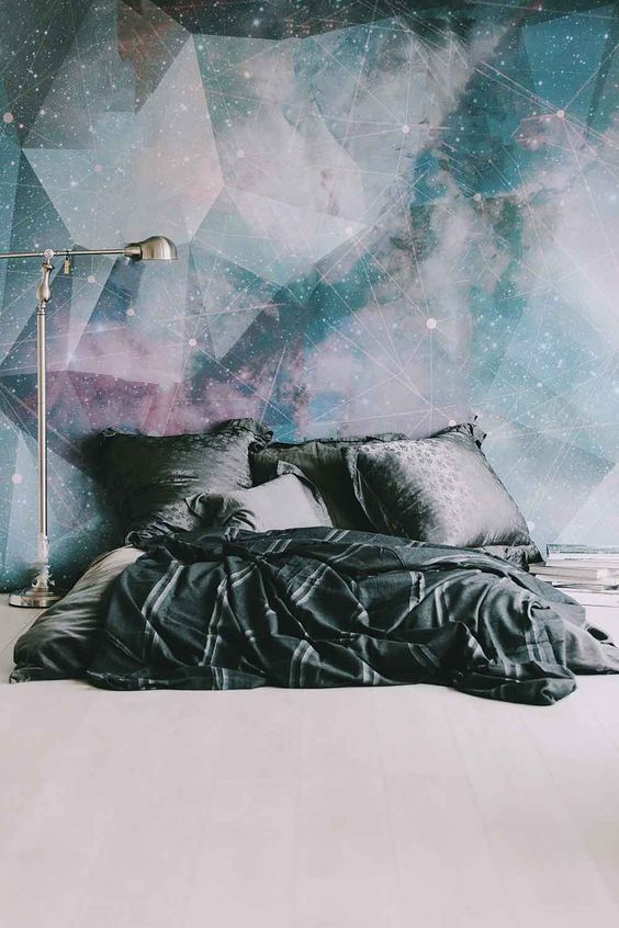 Galaxy wall mural decor idea #mural #sticker #painting #homedecor #walldecor #decoratingideas #interiordesign #decorhomeideas