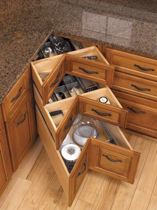 Genius storage corner drawers idea. #kitchen #storage #organization #cupboards #cabinets #decoratingideas #decorhomeideas #drawer
