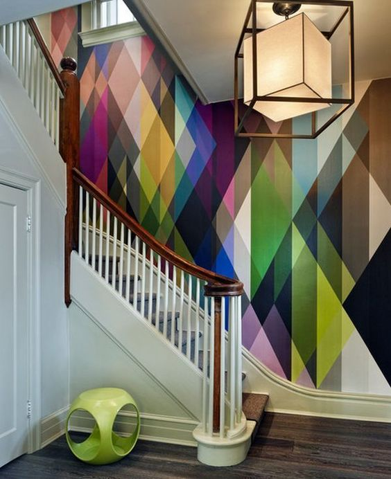 Geometric wall mural decor idea #mural #sticker #painting #homedecor #walldecor #decoratingideas #interiordesign #decorhomeideas