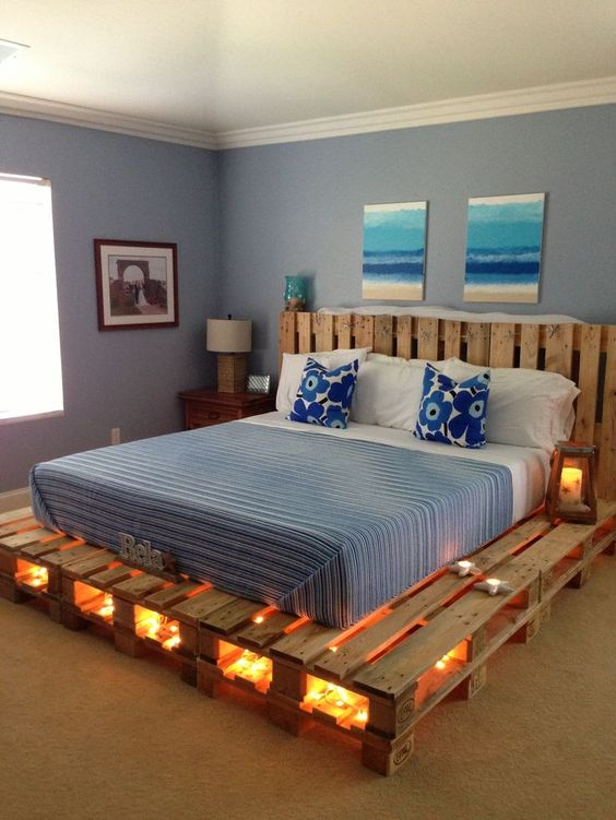 Great diy pallet bed idea #diy #pallets #furniture #makeover #repurpose #woodenpallet #homedecor #decoratingideas #decorhomeideas
