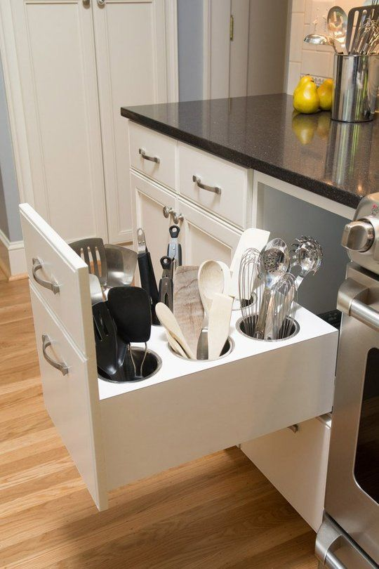 Great storage kitchen solution for forks and spoons. #kitchen #storage #organization #cupboards #cabinets #decoratingideas #decorhomeideas #drawer