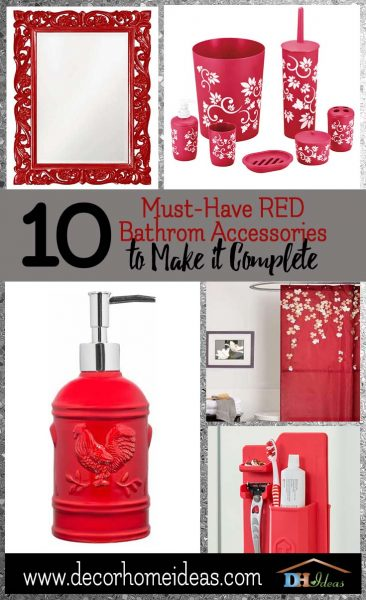 Red Bathroom Accessories Image Of