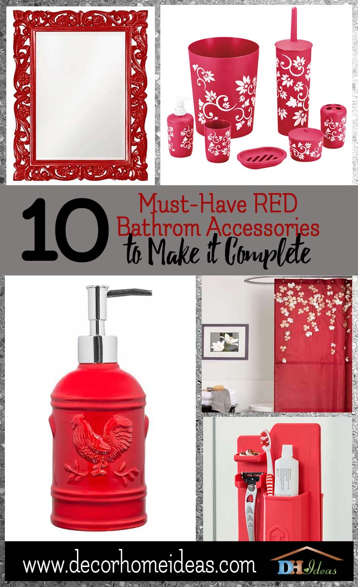 10 Must Have Red Bathroom Accessories To Make It Complete | Red bathroom accessories and cool items. #bathroom #red #decor #accessories #homedecor #decorhomeideas