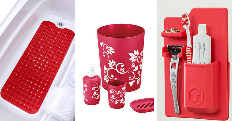 Red Bathroom Accessories Sets Home Design Ideas And Pictures