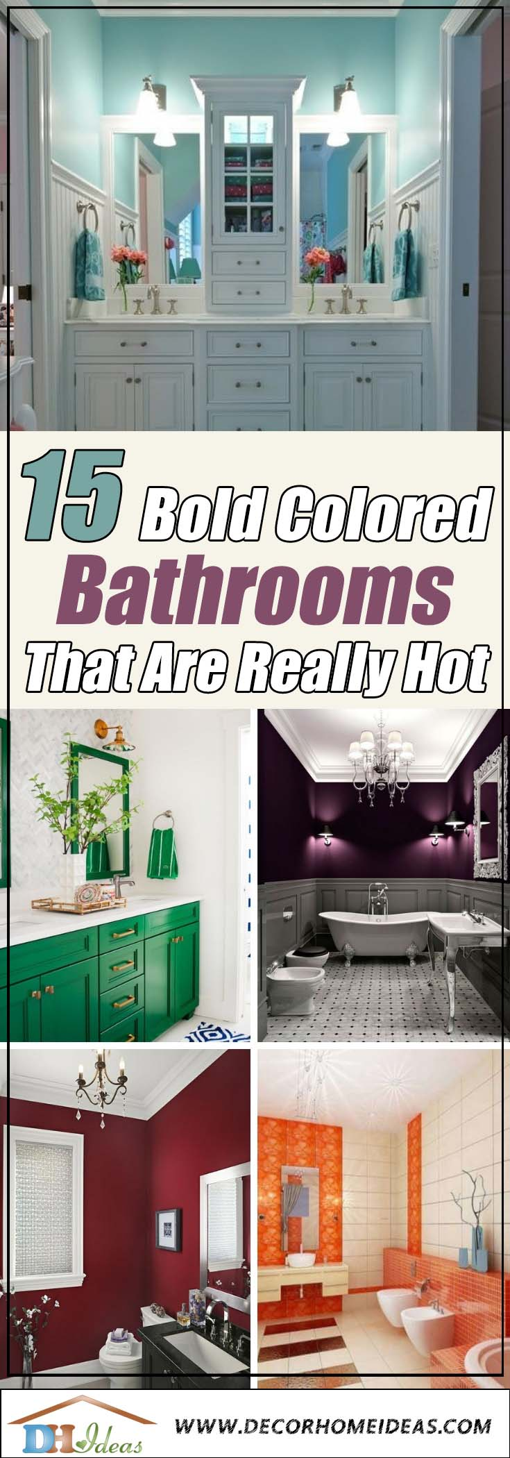 15 Boldly Colored Bathrooms That Are Really Hot Right Now | Bold color paints for bathrooms. #bathroom #bathroomdesign #bathroomideas #bathroomreno #bathroomremodel #decorhomeideas