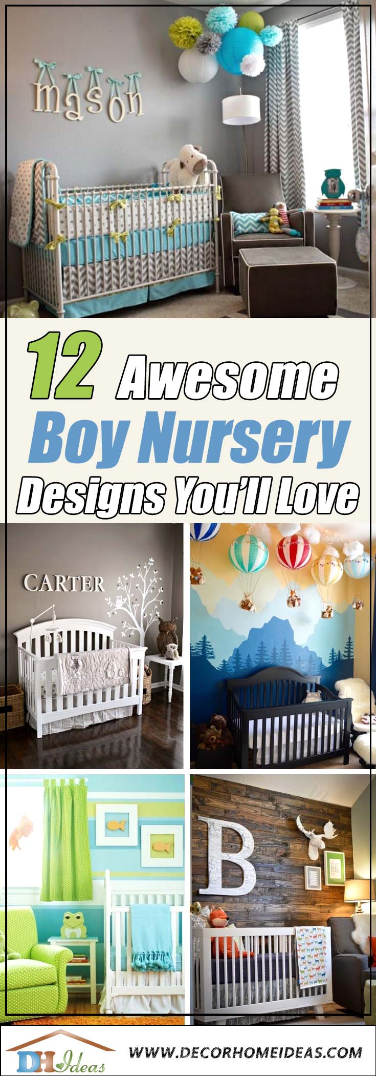 12 Awesome Boy Nursery Designs You Will Love | Decorate your kids room with style. #nursery #nurseryideas #nurserydecor #homedecor #design #interiordesign #decoratingideas #decorhomeideas