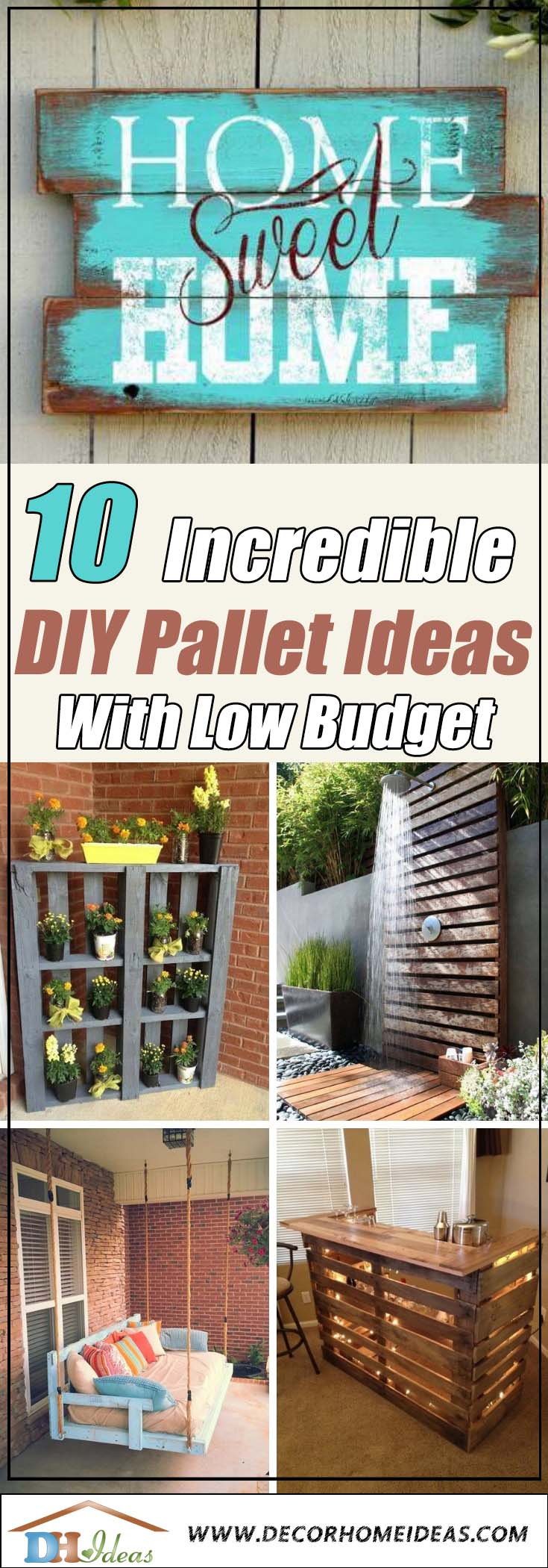 10 DIY Pallet Ideas With Low Buidget | Inspire yourself with these great DIY wooden pallet ideas and designs. #pallet #diy #pallets #furniture #makeover #repurpose #woodenpallet #homedecor #decoratingideas #decorhomeideas