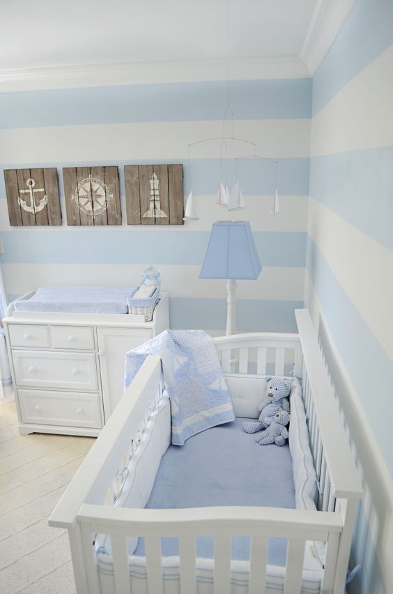 Beautiful nautical baby boy nursery idea #nurseryideas #nurserydecor #homedecor #design #interiordesign #decoratingideas #decorhomeideas