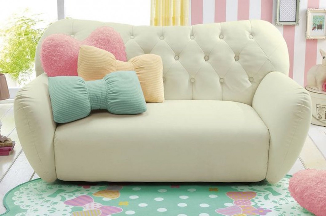 Bow pillows pastel color sofa #sofa #couch #design #furniture #interiordesign #homedecor #decorhomeideas