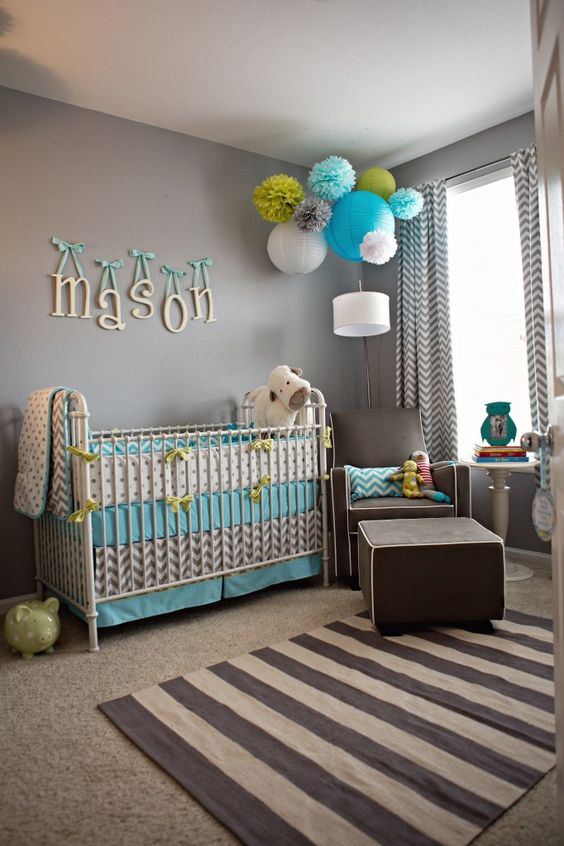 Bright and happy baby boy room idea #nurseryideas #nurserydecor #homedecor #design #interiordesign #decoratingideas #decorhomeideas