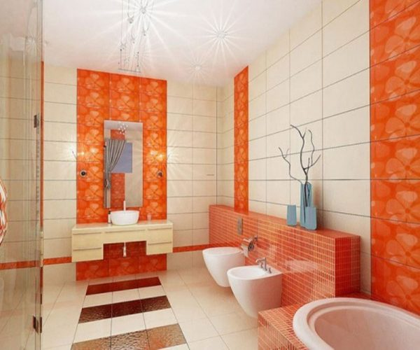 Orange bathroom design idea #bathroom #bathroomdesign #bathroomideas #bathroomreno #bathroomremodel #decorhomeideas
