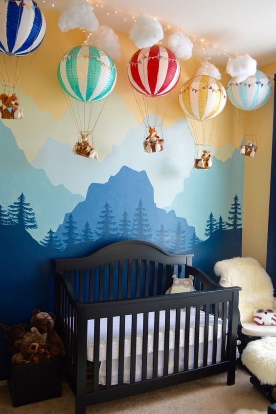 Hot air baloon boy nursery decoration #nurseryideas #nurserydecor #homedecor #design #interiordesign #decoratingideas #decorhomeideas