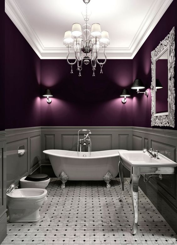 Purple bathroom idea #bathroom #bathroomdesign #bathroomideas #bathroomreno #bathroomremodel #decorhomeideas