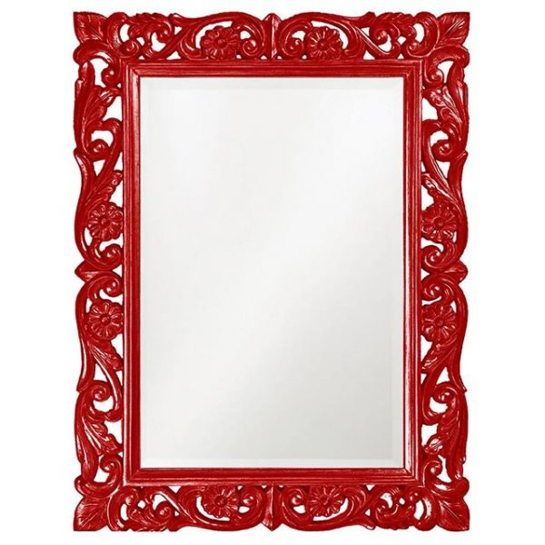 Red frame bathroom mirror #bathroom #red #decor #accessories #homedecor #decorhomeideas