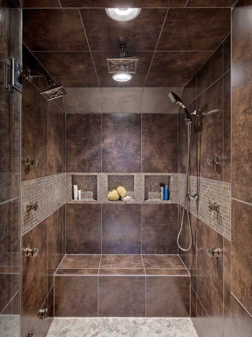 Rustic brown bathroom design idea #bathroom #bathroomdesign #bathroomideas #bathroomreno #bathroomremodel #decorhomeideas