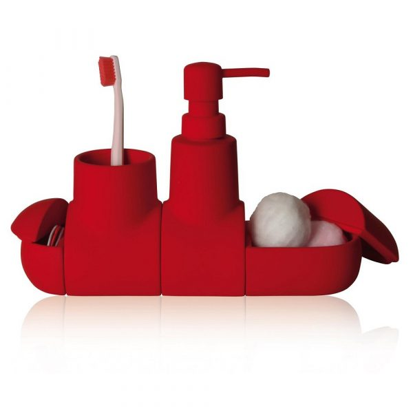 Submarino porcelain red bathroom accessory set #bathroom #red #decor #accessories #homedecor #decorhomeideas