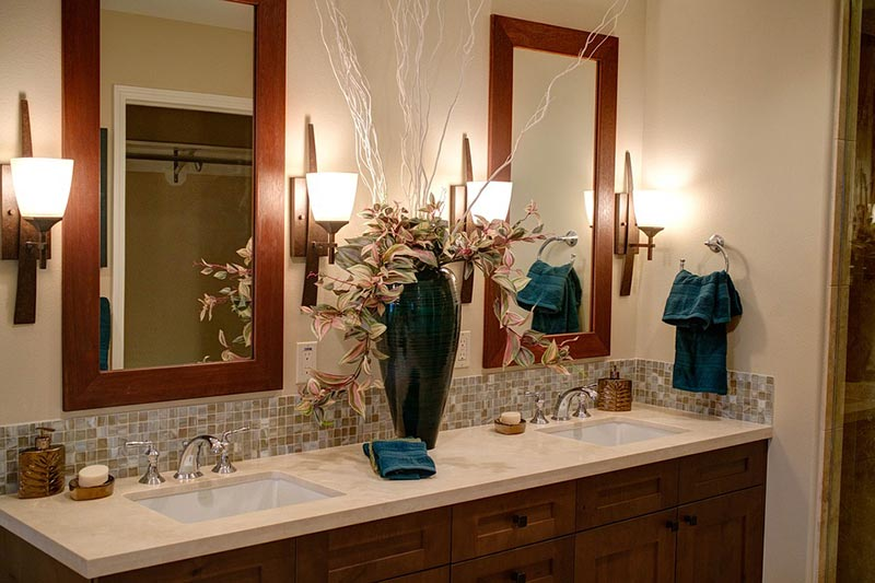 Wood marble classic bathroom with vanity