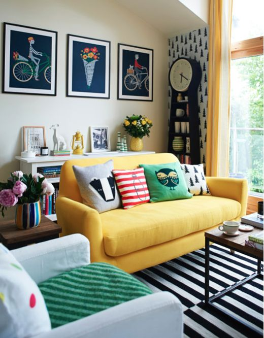 Yellow sofa design idea #sofa #couch #design #furniture #interiordesign #homedecor #decorhomeideas