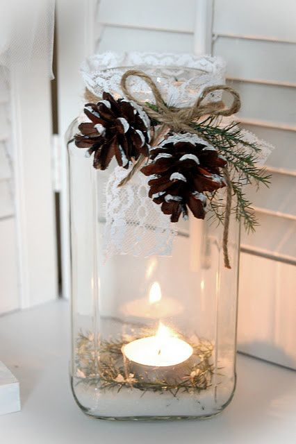 beautiful christmas jar decor idea