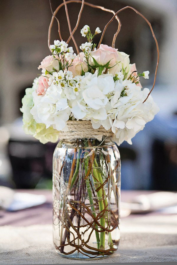 beautiful wedding flowers jar idea