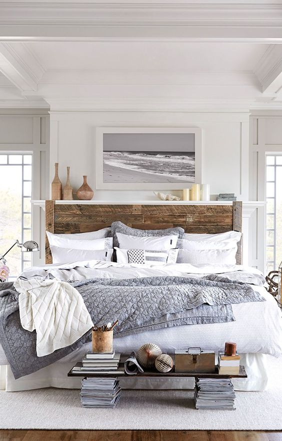 Beautiful wooden style headboard bed #headboard #bedroom #homedecor #decoratingideas #decorhomeideas