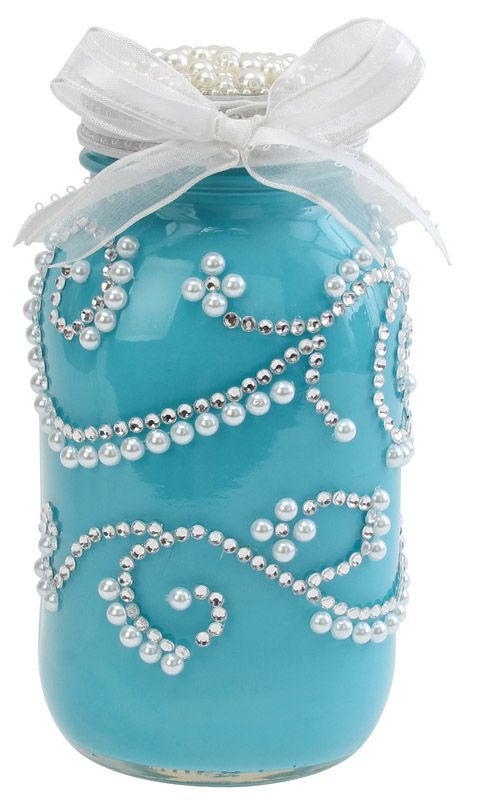 blue wedding crafted jar idea