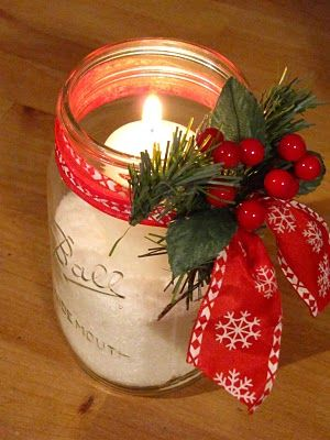 Candle light jar decor idea #xmas #x-mas #christmas #christmasdecor #christmasjars #jars #decoration #christmasdecorations #decoratingideas #festive #decorhomeideas