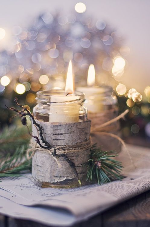 candles wood jar christmas decor idea