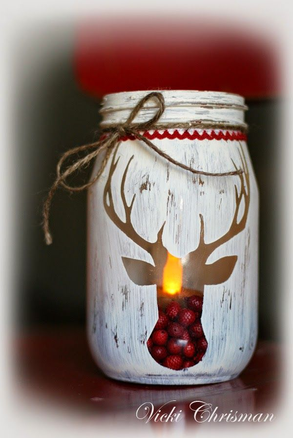 Christmas candle jar deer idea #xmas #x-mas #christmas #christmasdecor #christmasjars #jars #decoration #christmasdecorations #decoratingideas #festive #decorhomeideas