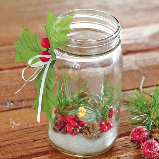 christmas jar candle decor idea