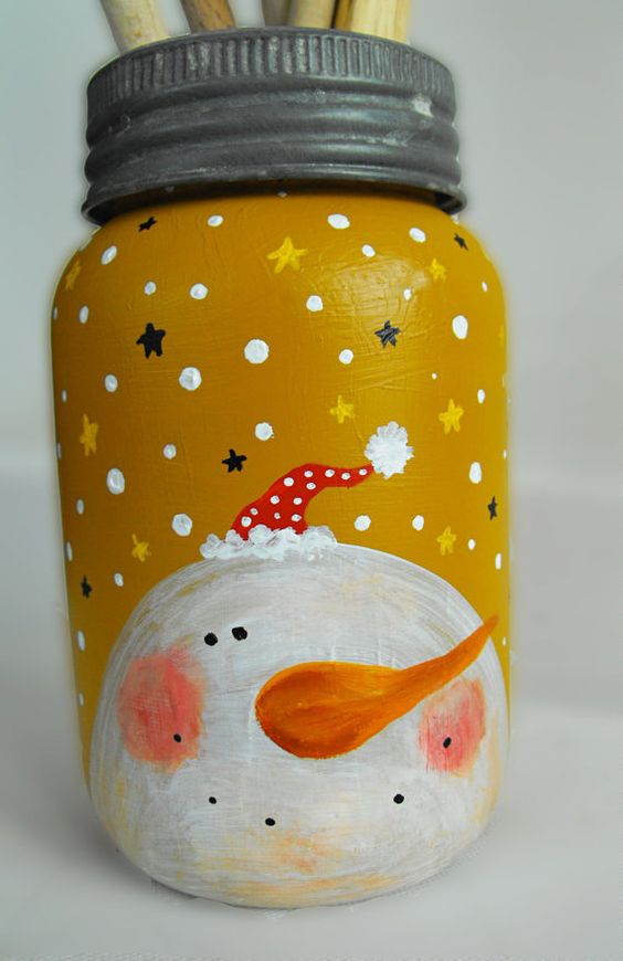 christmas mason jar painted idea