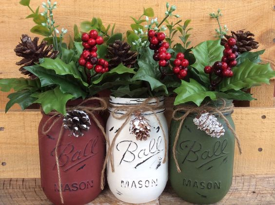 colorful christmas mason jar set