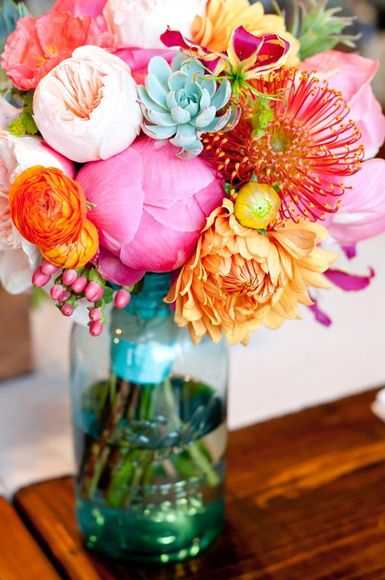colorful flowers wedding jar idea