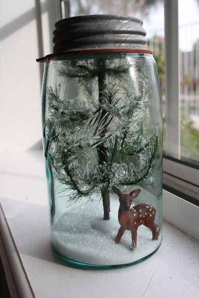 deer mason jar christmas decor idea
