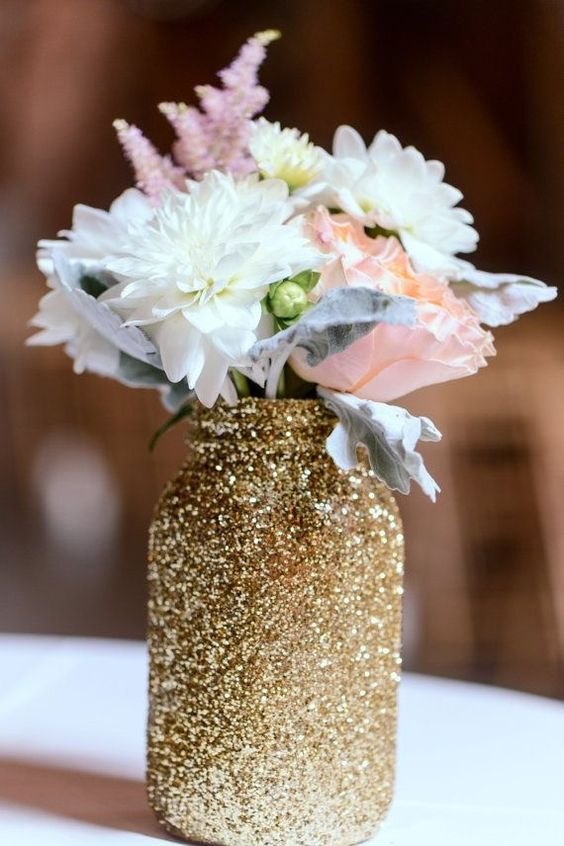 glitter mason jar wedding decor idea