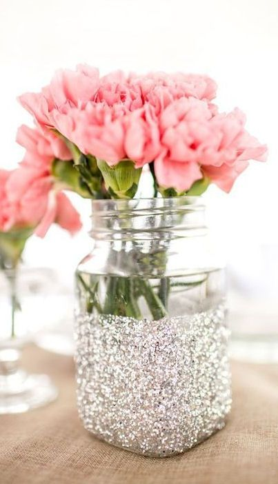 Glitter silver decor jar idea #jars #recycledjars #decoratingideas #homedecor #decorating #diy #home #decorhomeideas