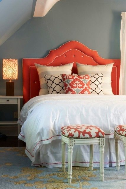 Great orange headboard style #headboard #bedroom #homedecor #decoratingideas #decorhomeideas