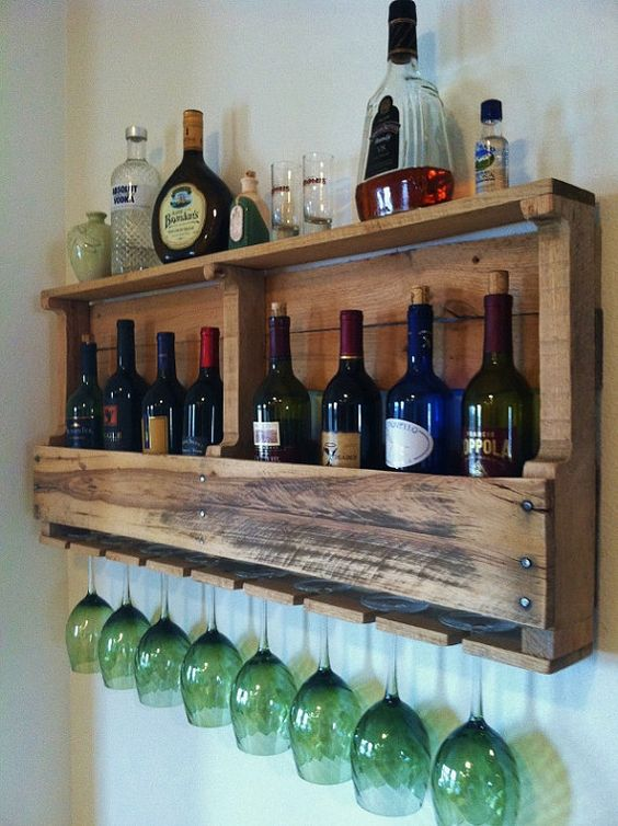 Great pallet shelves idea wine rack #pallet #diy #pallets #winerack #furniture #makeover #repurpose #wooden #wood #decoratingideas #decorhomeideas