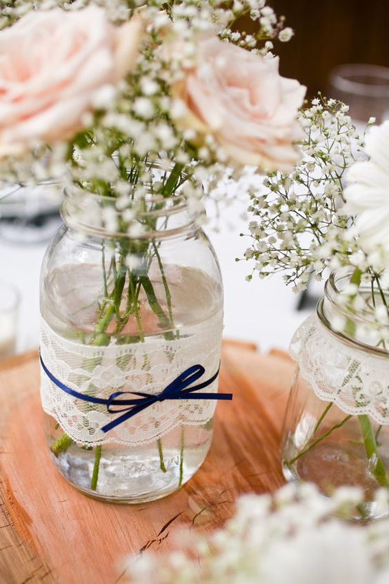 Lace and ribbon jar wedding decor idea #jars #diy #homedecor #wedding #decoratingideas #garden #outdoor #decorhomeideas