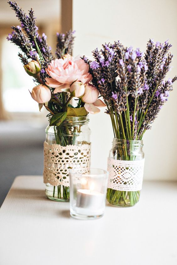 Lavender wedding jar idea #jars #diy #homedecor #wedding #decoratingideas #garden #outdoor #decorhomeideas