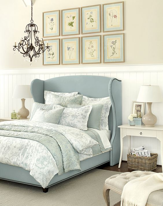 Lovely pastel blue headboard bed #headboard #bedroom #homedecor #decoratingideas #decorhomeideas